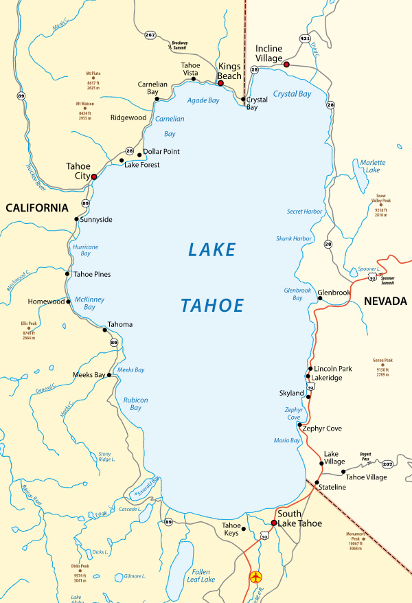 Lake Tahoe is an enormous lake that straddles the California/Nevada state line.